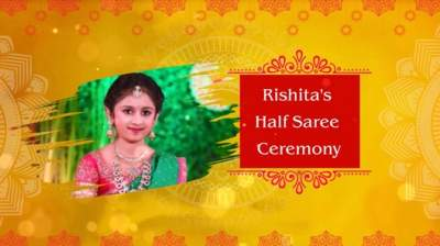 Half saree and dhoti function invitation