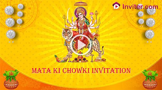 Traditional Video Invitation For Mata Ki Chowki Pooja